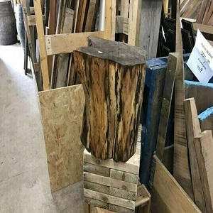 Sanded and oiled rustic tree stump